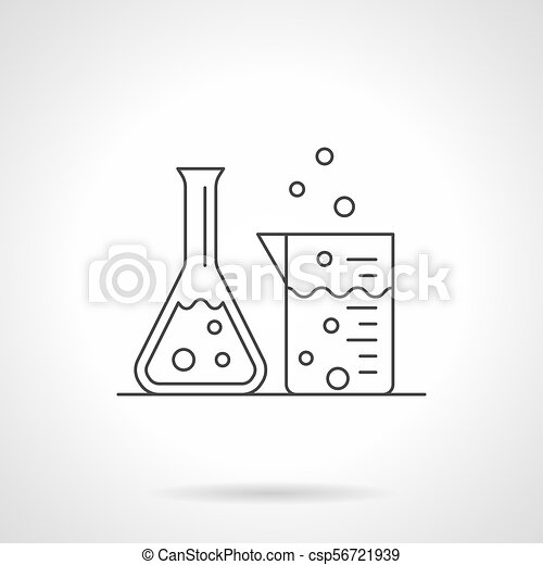 Laboratory glassware flat line vector icon - csp56721939