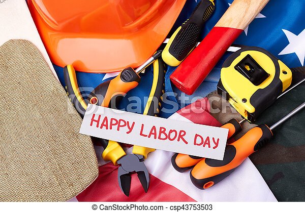 Labour Day card on flag. - csp43753503