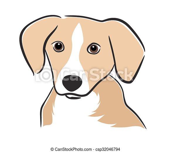 Vector Bild eines Hunde-Laboradors auf weißem Hintergrund - csp32046794
