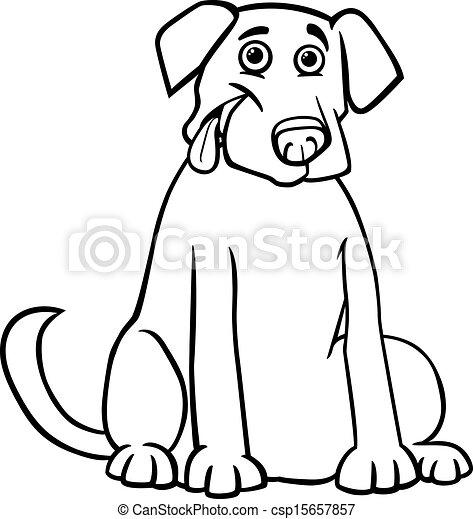 Labrador Retriever Cartoon For Coloring Book Black And White Cartoon Illustration Of Funny Purebred Labrador Retriever Dog Canstock