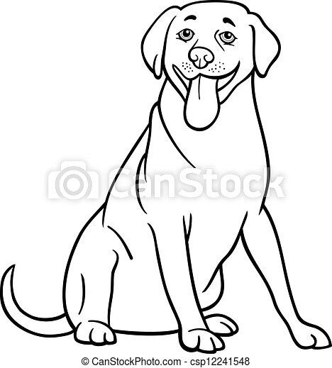 Labrador Retriever Dog Cartoon For Coloring