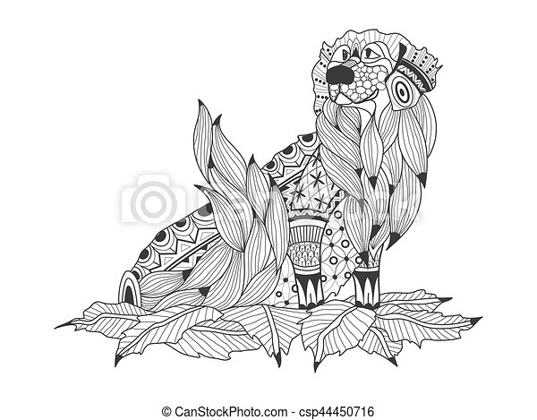 Labrador retriever in the leaves coloring book for adults vector ...