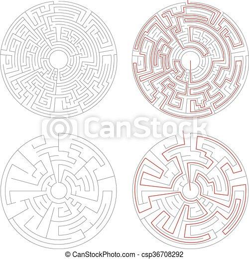 labyrinter, medium, två, lösning, komplexitet, vit, runda - csp36708292