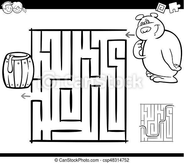Labyrinth, färbung, seite, bär. Färbung, labyrinth,... Clipart ...
