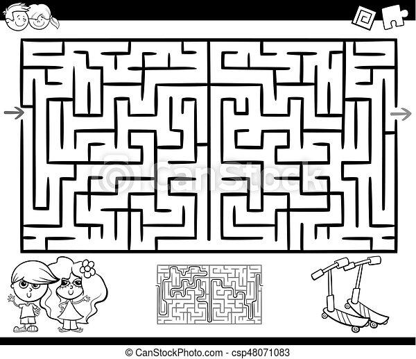 Labyrinth, labyrinth, färbung, oder, aktivität. Kinder,... Vektor ...