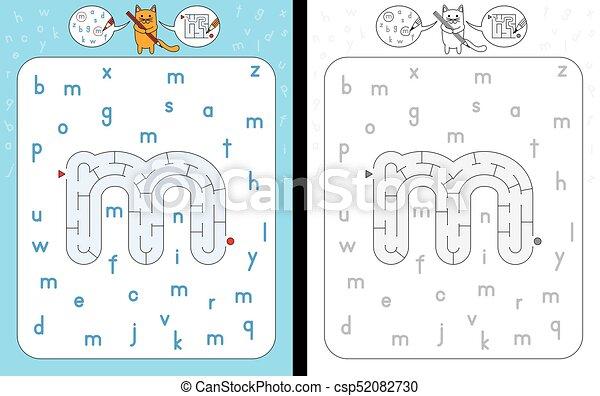 Labyrinth, m, brief. Lernen, arbeitsblatt, -, m, form, brief ...