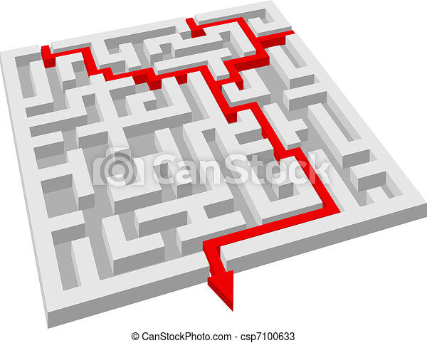 Labyrinth Maze Puzzle For Solution Or Success Concept