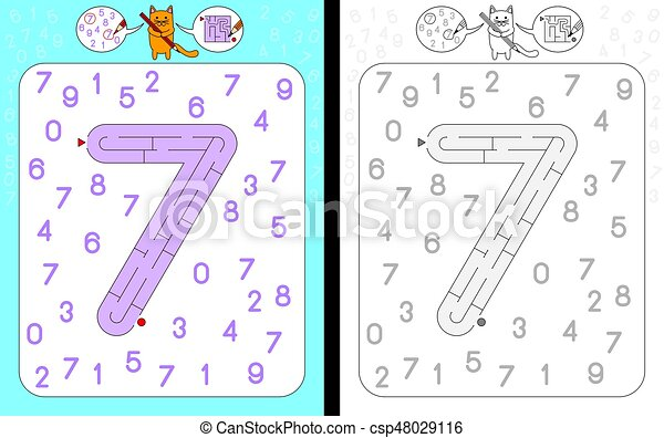 Labyrinth, nr. 7. Lernen, arbeitsblatt, -, zahl, form, zahlen, 7 ...