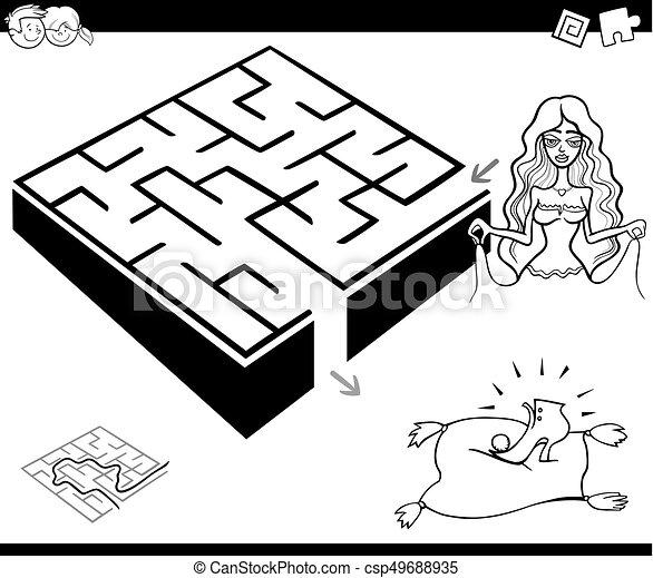 Maze-Aktivitätsspiel mit Cinderella - csp49688935