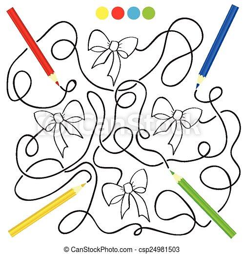 Labyrinth, spiel, färbung, aktivität. Bleistifte, bild,... Vektor ...