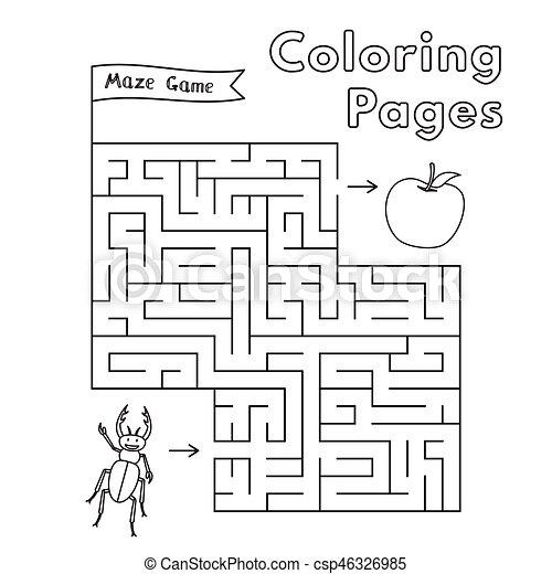 Labyrinth, spiel, karikatur, käfer. Färbung, game., seiten ...
