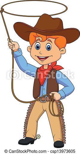 laccio, capretto, cartone animato, roteare, cowboy - csp13973605