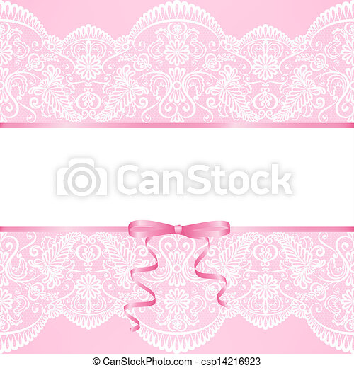Vector template for wedding invitation or greeting card with lace lace background and ribbon csp14216923 stopboris Gallery