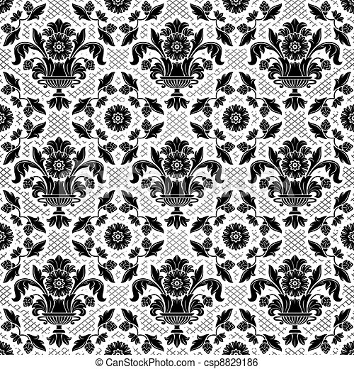 Lace background, black ornamental flowers - csp8829186