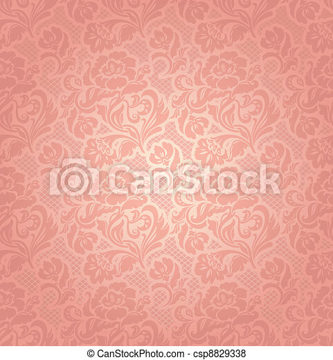 Lace background, ornamental pink flowers - csp8829338