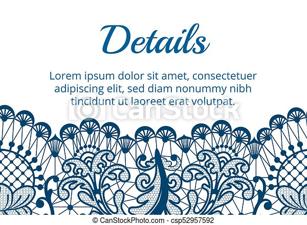 lace border card template of card with blue lace border on white