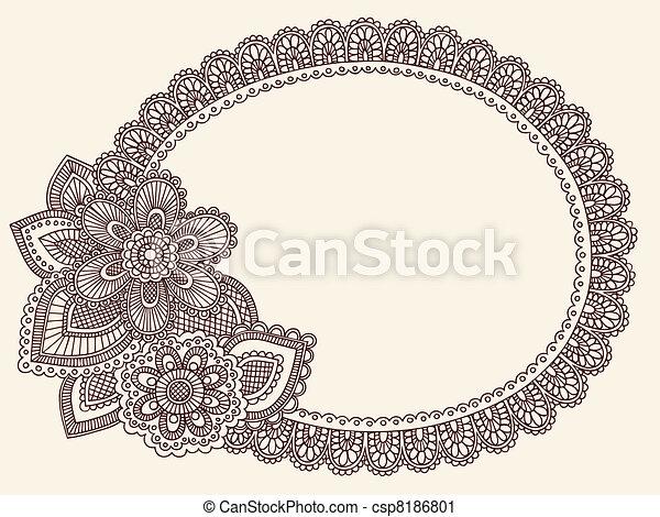 Lace Doily Henna Frame Vector - csp8186801