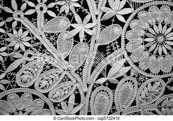 Lace doily on black background, close up. Horizontal format. - csp5722418