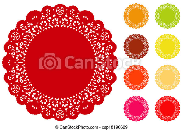 Lace Doily Place Mats, Brights - csp18190629