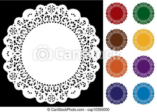 Lace Doily Place Mats, Jewel Tones - csp10350000
