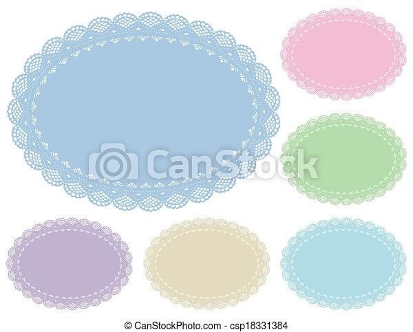 Lace Doily Placemats, Pastels - csp18331384