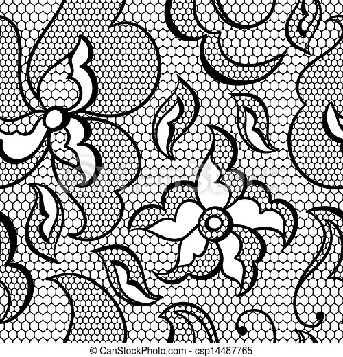 Lace fabric seamless pattern with abstract flowers. - csp14487765