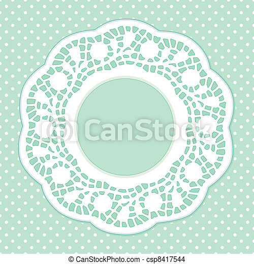 Lace Frame, Polka Dot Background - csp8417544