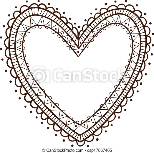 Lace heart frame. sketch vector design element for valentine\'s day.