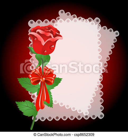 Lace napkin and rose - csp8652309