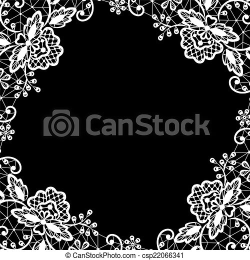 Wedding invitation or greeting card with white lace on black background lace on black background csp22066341 m4hsunfo