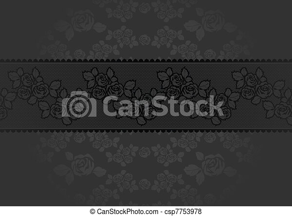 Lace Rose dark gray background - csp7753978