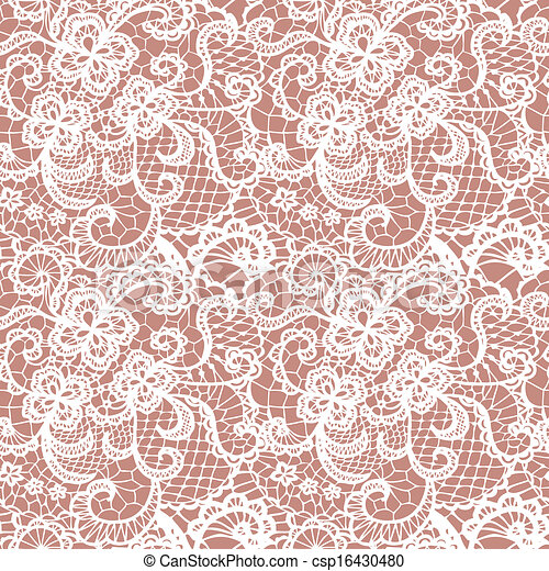 Lace seamless pattern with flowers - csp16430480