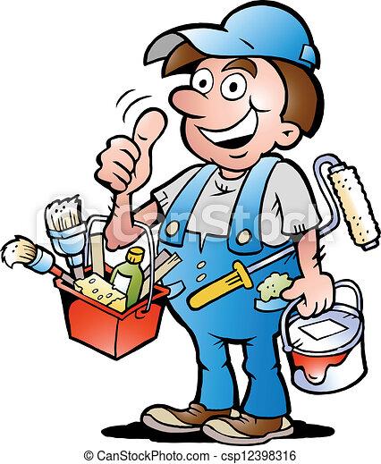 lackierer, auf, heimwerker, daumen, geben - csp12398316