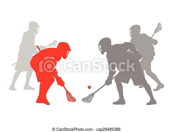 Lacrosse jugador en acción ganador concepto vector fondo - csp29485386