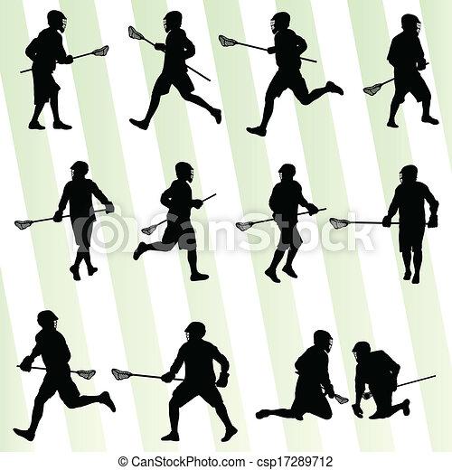 Jugador de lacrosse en vector de acción establecido - csp17289712