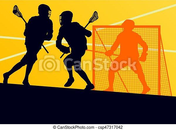 Jugador de lacrosse en vector deportivo de equipo de protección - csp47317042