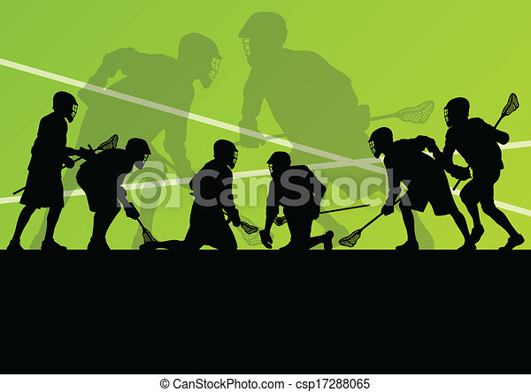 Lacrosse players active sports silhouettes background illustration - csp17288065