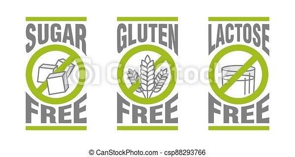 Lactose, Gluten, GMO, Sugar free pictograms - csp88293766