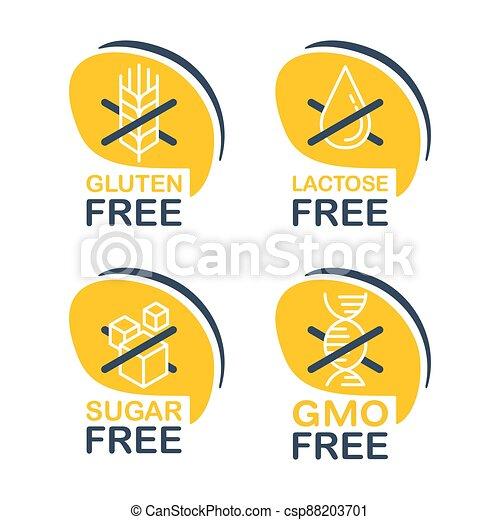 Lactose, Gluten, GMO, Sugar free pictograms - csp88203701