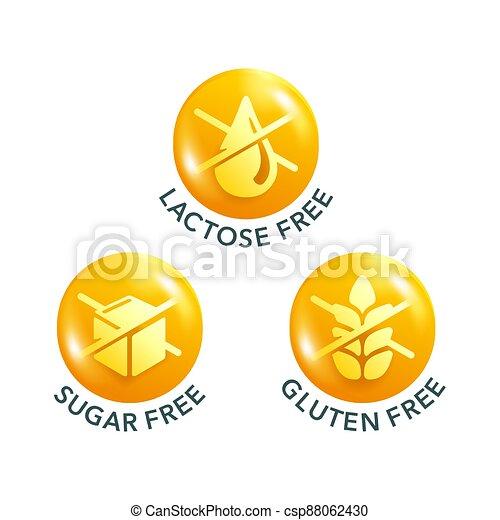Lactose, Sugar, Gluten free 3D glossy pictogram - csp88062430