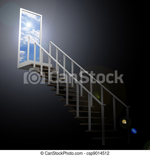 Ladder leading up to the sky from darkness - csp9014512
