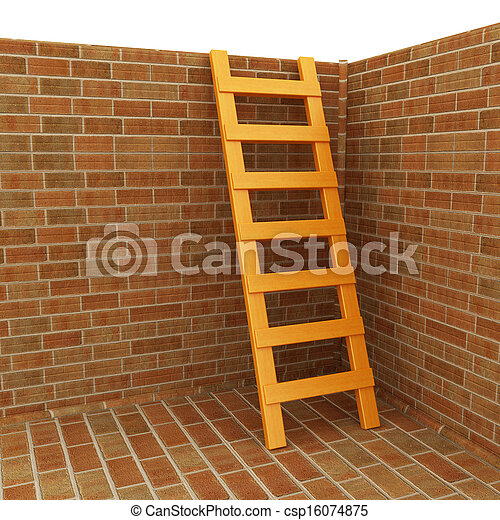 Ladder leans on brick wall - csp16074875