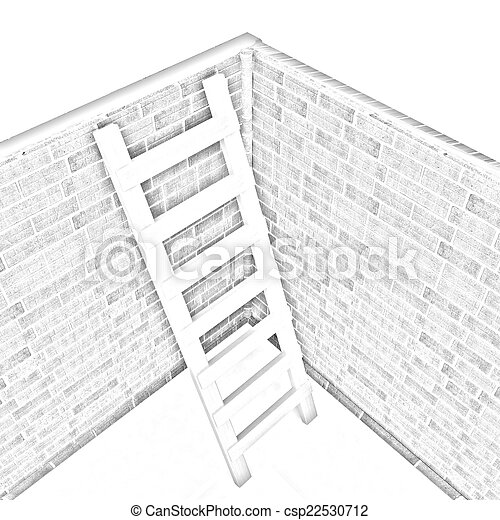 Ladder leans on brick wall - csp22530712
