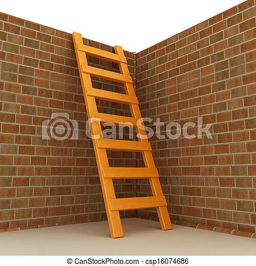 Ladder leans on brick wall - csp16074686