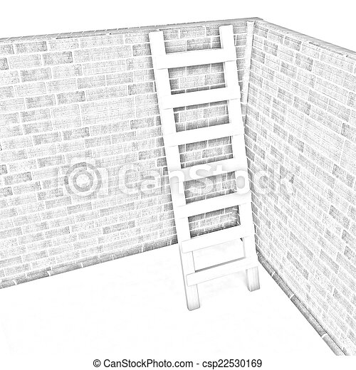 Ladder leans on brick wall - csp22530169