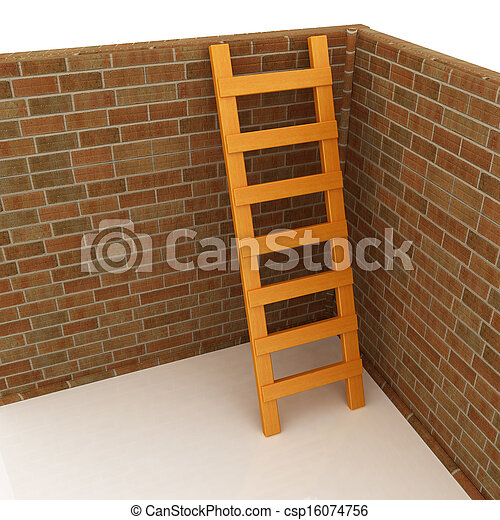 Ladder leans on brick wall - csp16074756
