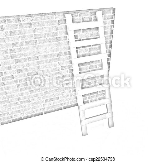 Ladder leans on brick wall - csp22534738