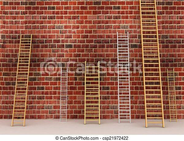 Ladders Against Old Brick Wall 3d Illustration