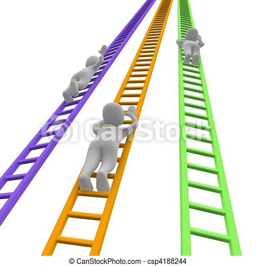 Competición y escaleras. 3d ilustrado. - csp4188244