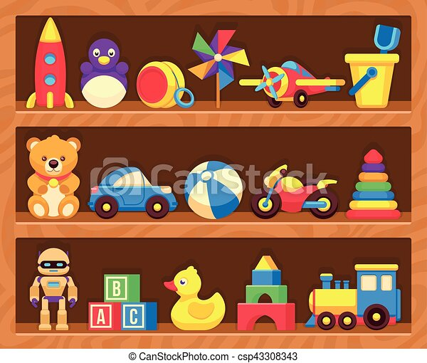 Kinder Spielzeug Im Regal Stock Vektor Art und mehr Bilder